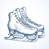 Skiing. Vector drawing. Old bandy boots isolated on white background. Freehand outline ink hand drawn picture sketchy in scribble retro style pen on paper Royalty Free Stock Photo