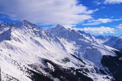 Skiing in Verbier. Famous Ski resort Verbier-Nendaz in Switzerland Royalty Free Stock Photo