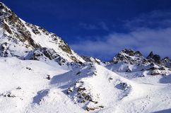 Skiing in Verbier. Famous Ski resort Verbier-Nendaz in Switzerland Royalty Free Stock Image