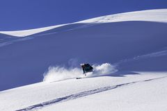 Skiing verbier off-piste royalty free stock photo