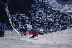 Skiing into Verbier stock photo