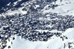 The skiing village of verbier in the snow. The swiss skiing resort of verbier in the snow Stock Photos