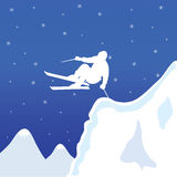 Skiing white man in winter vector illustration Stock Photos