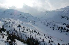 Skiing in winter. Time in Tatry mountains - Polana Goryczkowa stock photo
