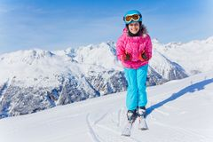 Young skier in winter resort. Skiing, winter, child - young skier in winter resort Stock Image