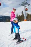 Skiing, winter, family Royalty Free Stock Photos