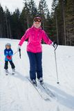 Skiing, winter, family Stock Photography