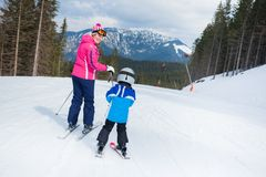 Skiing, winter, family Royalty Free Stock Image