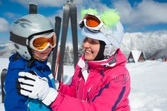 Skiing, winter, family Royalty Free Stock Photo
