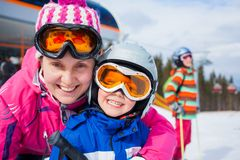 Skiing, winter, family Stock Images