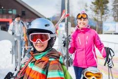 Skiing, winter, family stock image