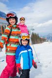 Skiing, winter, family Stock Photography