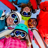 Skiing, winter fun royalty free stock photo