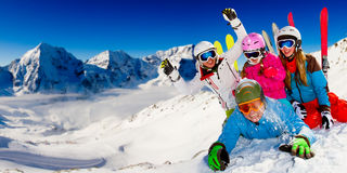 Skiing, winter fun Stock Photo