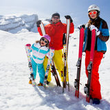 Skiing, winter fun Stock Images