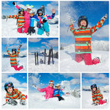 Skiing  winter fun. Happy family Stock Images