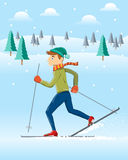 Skiing in Winter landscape. Cute Skier / Winter sport / EPS 10 Stock Photos