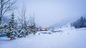 Skiing in a Winter Landscape to the Alpine Village of Sun Peaks Stock Photography