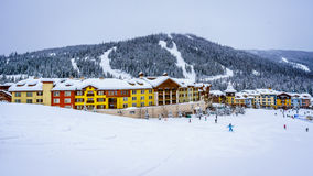 Skiing in a Winter Landscape to the Alpine Village of Sun Peaks Stock Photo