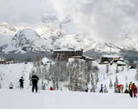 Skiing in winter on a ski resort Stock Images