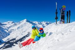 Free Skiing, Winter, Snow, Sun And Fun - Kids, Boy And Girl Having Fun In The Alps. Child Skiing In The Mountains. Stock Photography - 138827732