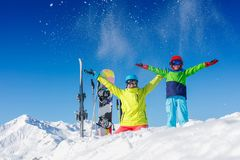 Skiing, winter, snow, sun and fun - kids, boy and girl having fun in the Alps. Child skiing in the mountains. stock photos