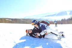 Skiing, winter sports - portrait of young skiers, couple having fun on ski. selective focus royalty free stock photos