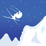 Skiing in winter vector illustration Stock Photos