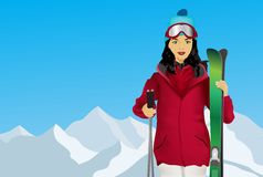 Skiing, a woman with skis Stock Photography