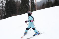 Skiing young girl Royalty Free Stock Photos
