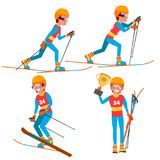 Skiing Young Man Player Vector. Man. Ski Resort. Skiing In The Mountains. Flat Athlete Cartoon Illustration. Skiing Player Male Vector. Winter Activities Rest Stock Photos