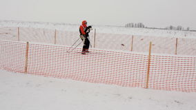 Skijoring competitions stock video
