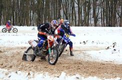 Skijoring race. Motoskijoring competition in Nekor, Czech republic, 5.2. 2011 Stock Photography