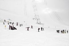Skilessen bij Hintertux-Gletsjer, Oostenrijk Stock Fotografie