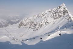 Skilift en helling in Apls Stock Fotografie