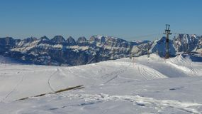 Skilift in het Pizol-skigebied Stock Afbeeldingen