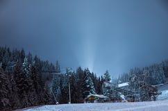 Skilift, nachts Lizenzfreies Stockbild