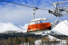 Skilift on winter resort Stock Photo
