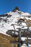 Skilifts em uma cena nevado em Gressoney Foto de Stock Royalty Free