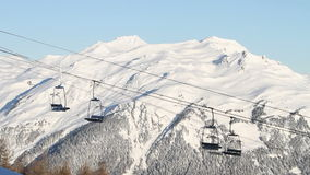 Skilifts in winter ski resort in France Stock Photo