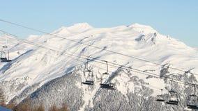 Skilifts in winter ski resort in France stock footage