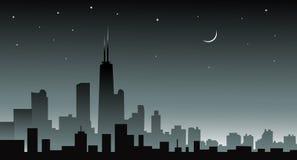 Skiline van Chicago bij Nacht -  Stock Foto's
