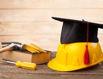 Skill. Apprenticeship graduate academic achievement apprentice black Stock Photo
