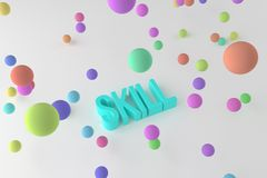Skill, business conceptual colorful 3D rendered words. Digital, message, cgi & rendering. Skill, business conceptual colorful 3D rendered words. Background stock illustration