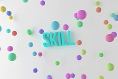 Skill, business conceptual colorful 3D rendered words. Graphic, positive, wallpaper & backdrop. Skill, business conceptual colorful 3D rendered words vector illustration
