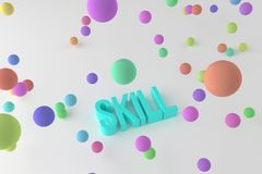 Skill, business conceptual colorful 3D rendered words. Wallpaper, background, message & typography. Skill, business conceptual colorful 3D rendered words vector illustration
