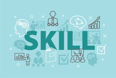 SKILL Concept with icons. And signs Royalty Free Stock Photos