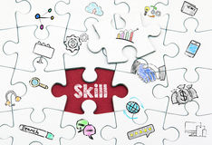 Skill concept. Last piece of a Puzzle Royalty Free Stock Images