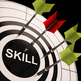 Skill On Dartboard Shows Gained Skills. Or Obtained Abilities Royalty Free Stock Photo