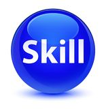 Skill glassy blue round button Royalty Free Stock Photos